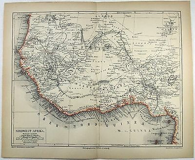 Original German 1878 Map of Northwest Africa by Meyers