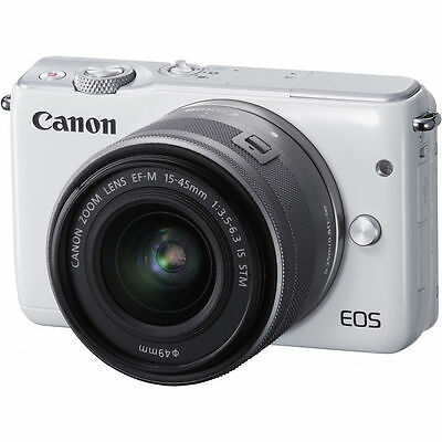 Canon EOS M10 Mirrorless Digital Camera with 15-45mm Lens (White)