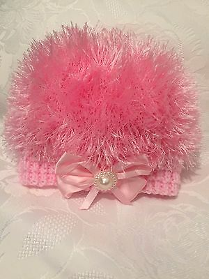 Hand Knitted Baby Girls Pink Eyelash  Wool  Beanie Hat  0 - 3 months  'NEW'