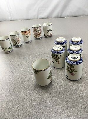 9 Vintage 1985 Fp Japan Blue & Gold Birds & Flowers Sake/tea Cups: Tree, Bird