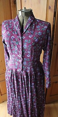 Vintage Purple Floral Northern Traditions Cotton Long Maxi Dress Modest Small
