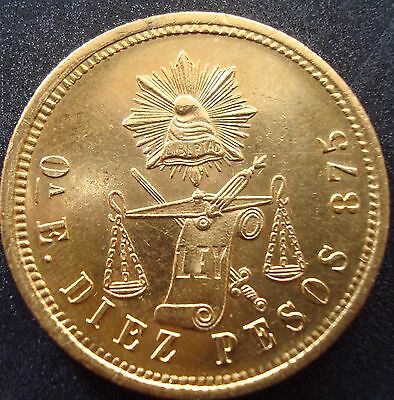 Mexico RARE $10 Pesos Gold Coin Guaranteed 100% Authentic ,1871