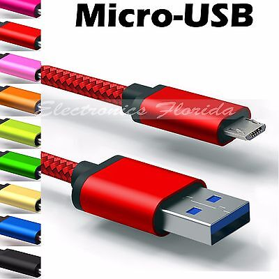 ✔ Micro USB Nylon Braided Rope Data Sync Charger Charging Cable Cord LOT
