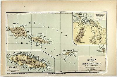 Original 1880 German Map of Samoa by Meyers.