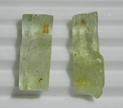 Aquamarine Rough 8.7-Gr, I2, Green, For Faceting Or Collection 2-Pcs A072