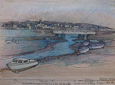 COLOURED GRAPHITE DRAWING by FREDERICK GEORGE WILLS 1901-1993 R.I. EXMOUTH