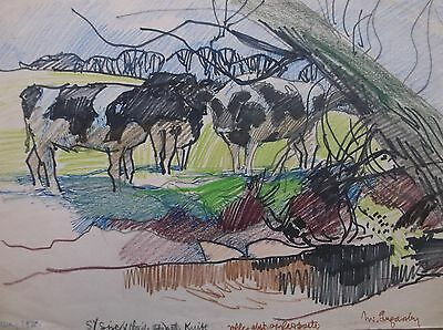 COLOURED GRAPHITE DRAWING by FREDERICK GEORGE WILLS 1901-1993 R.I. COWS