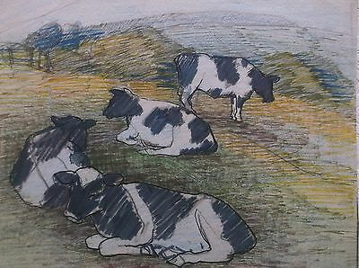 COLOURED GRAPHITE DRAWING by FREDERICK GEORGE WILLS 1901-1993 R.I. STUDY OF COWS