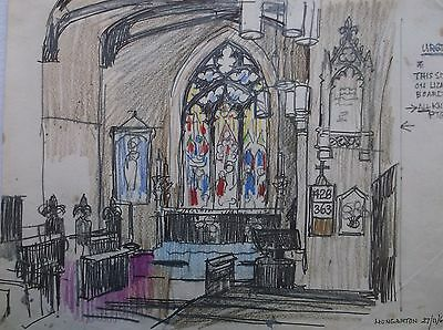 COLOURED GRAPHITE DRAWING by FREDERICK GEORGE WILLS 1901-1993 R.I. HUNGARTON