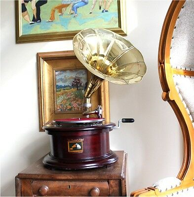 RCA Victor Gramaphone Round Phonograph 78RPM Antique Style Gramophone