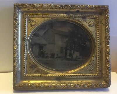 American Daguerreotype C 1880/ People Outside Country House/ Meeting House?