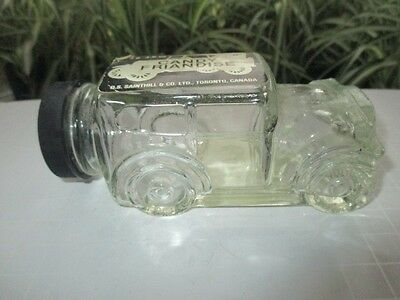 Depression Glass 1928 Automobile Car Candy Jar Candy Friandise With Labels & Lid