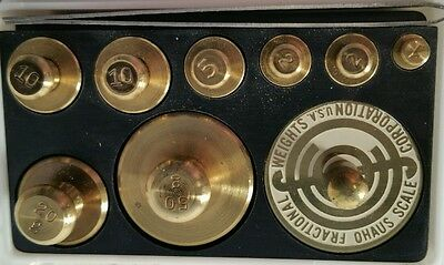 Vintage Ohaus Scale Brass Calibration Weight Set with Tweezers USA (BY36)
