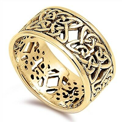Gold Celtic Sterling Silver Band Ring - Sizes 5 - 11