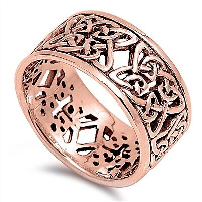 Rose Gold Celtic Sterling Silver Band Ring - Sizes 5 - 11