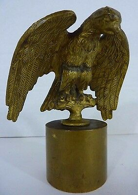 Antique Brass Gilt Perched Eagle Decorative Art Paperweight Finial Old Hardware