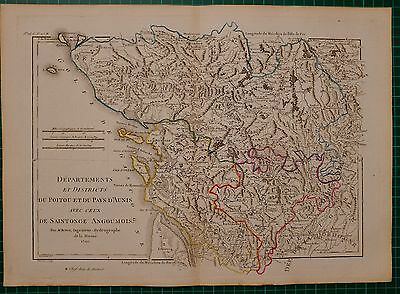 1790 Dated Rigobert Bonne Map Country Of Aunis With Those Of Saintonge Angoumois
