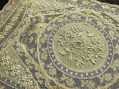 "Antique FRENCH NORMANDY LACE Table Centerpiece DOILY 10x16"" Mixed Laces FRANCE"