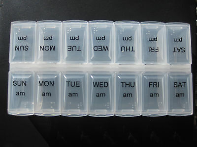 Twice Daily Weekly Double Tablet Pill Medicine Box Holder Storage Organizer Case