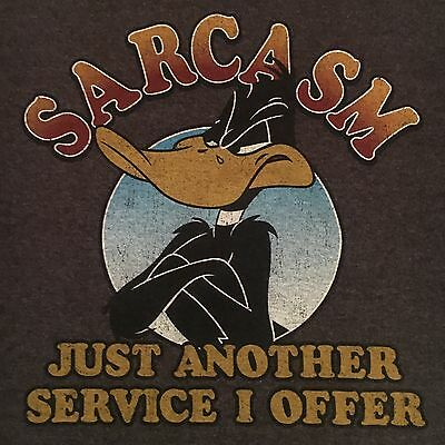 retro DAFFY DUCK t shirt--SARCASM another service I offer--LOONEY TUNES--(XL)