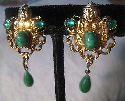 Vintage Antiqued Gold Tone Jeweled Seated Buddha Clip Dangle Earrings