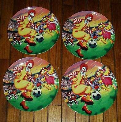 Lot of 4 NEW Birdie & Ronald McDonald Plastic/Melamine 2002 Soccer Plates MINT