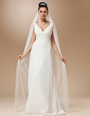 Handmade 1 Tier White/Ivory Chapel Length Plain Bridal Veils,...