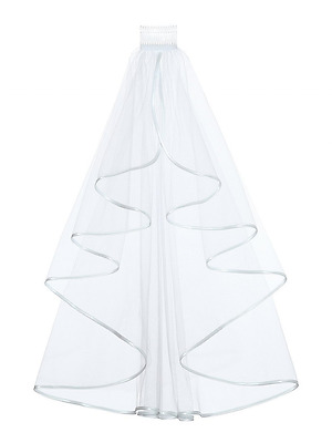 """1T 1 Tier Ribbon Edge Bridal Wedding Veil - Elbow Length 28"""" with comb, White"""