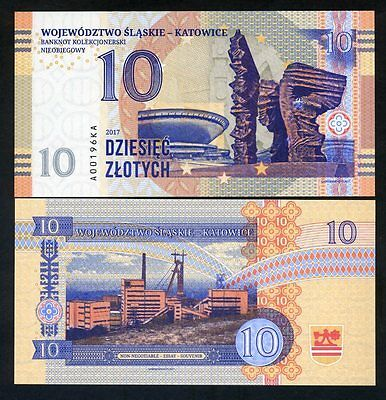 Poland, Katowice, 10 Zlotych , Private Issue, Specimen, Essay, 2017, UNC