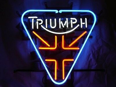 "Triumph Motorcycle Bike Beer Bar Chopper Coffee Poster Neon Light Sign 16""x15"""
