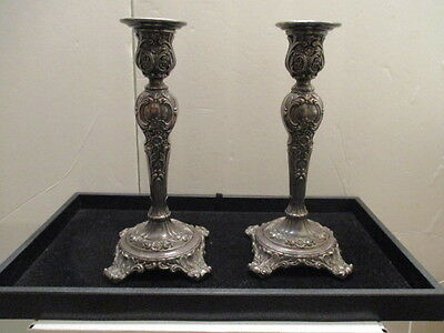 Victorian Rose  Wm. Rogers 1915 Silverplated Embossed Candlestick Holders Set
