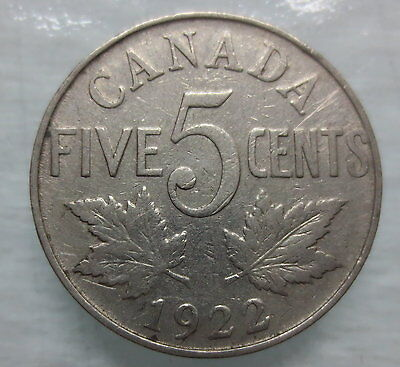 1922 Canada 5¢ King George V Nickel Coin