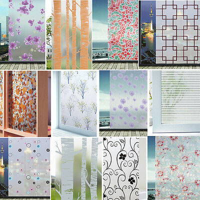 Frosted Floral Static Cling Stained Glass Door Window Film Sticker Privacy Decor