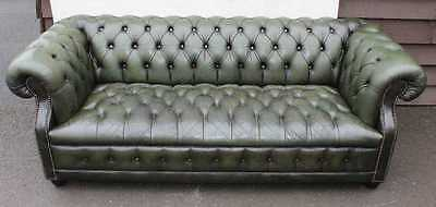 Large Vintage 1920's Green Chesterfield 3 seater Leather Fully Buttoned sofa