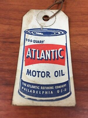 Vintage Rare 1950's Atlantic Gas & Oil Advertising Motor Oil Sales Tag