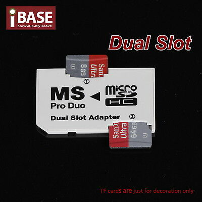 Dual Slot MicroSD HC To MS Pro Duo Adapter Memory Stick Sony PSP Mobile Phone