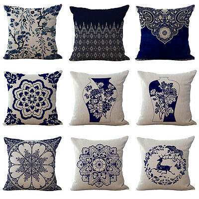 18'' Chinese Style Porcelain Floral Cushion Cover Pillow Case Home Sofa Décor