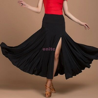 Womens Salsa Tango Rumba Chacha Skirt Square Ballroom Competition Dance Dress AU