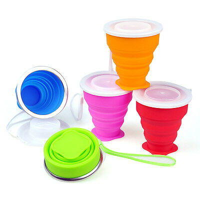 1pc Cute Colourful Silicone Folding Cup Outdoor Camping Telescopic Collapsible