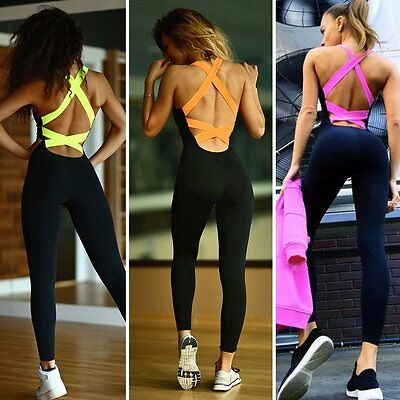 Womens Jumpsuit Leggings Yoga Gym Sports Fitness Bodycon Athletic Running Romper