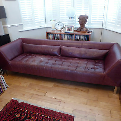 long Mid Century Retro Brown Leather Three Seater Sofa Settee Couch 1970-1980's