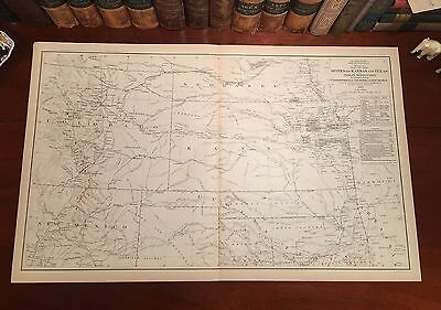 Large Original Antique Civil War EXPLORATION Map TEXAS Kansas INDIAN TERRITORY