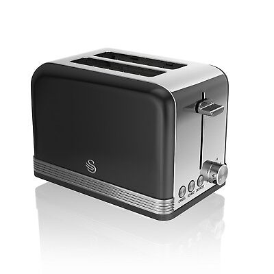 Swan 2 Slice Retro Stainless Steel Toaster Cancel Defrost Reheat Function Black