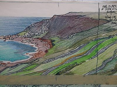 COLOURED GRAPHITE DRAWING by FREDERICK GEORGE WILLS 1901-1993 R.I. SENNEN COVE