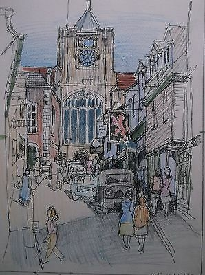 COLOURED GRAPHITE DRAWING by FREDERICK GEORGE WILLS 1901-1993 R.I. RYE SUSSEX