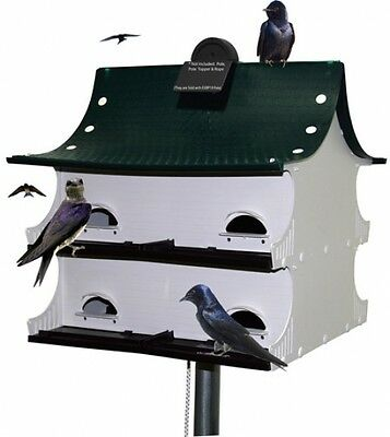 Purple Martin House, Green/White/Black Birdhouse Bird 8 Family Home Birds Pegs