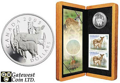 2005 Deer & Fawn Proof $5 Pure Silver Coin & Stamp Set (11754)