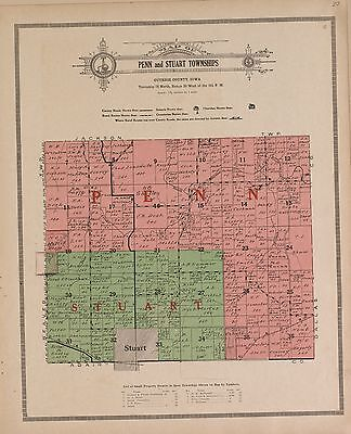 1917 GUTHRIE COUNTY plat map IOWA old GENEALOGY history Atlas Land P148