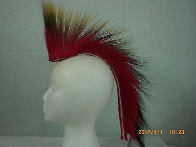 Porcupine Roach, Red out, 15 inch, Red with a White stripe Yarn Base