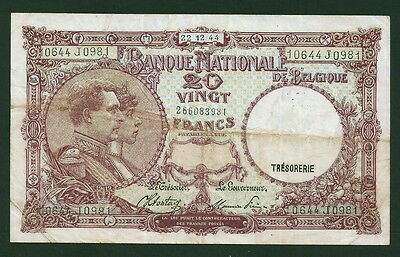 Belgium 20 Francs #111, Very Fine Note, Nice Color 1002-13